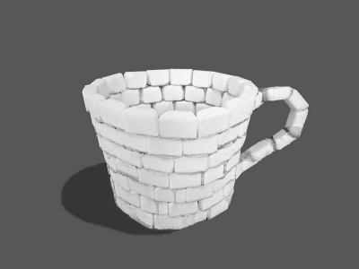 Graphic showing a cup made of sugar