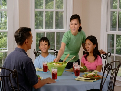 family eating at the table