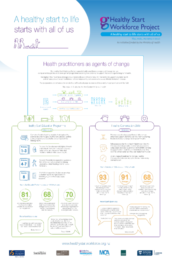 Poster detailing the work of the Healthy Start Workforce Project