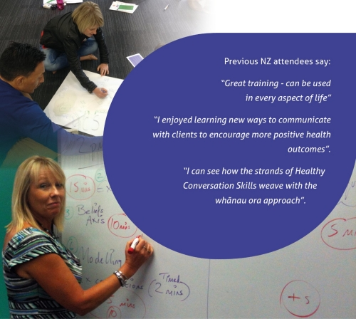 """Previous NZ attendees say: """"Great training - can be used in every aspect of life."""" """"I enjoyed learning new ways to communicate wiht clients to encourage more positive health outcomes."""" """"I can see how the strands of Healthy Conversation Skills weave with the whanau ora approach."""""""
